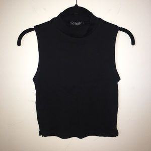 Topshop Black Sleeveless Mockneck Top